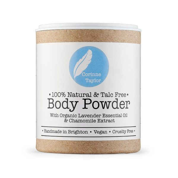 body powder in box on white background