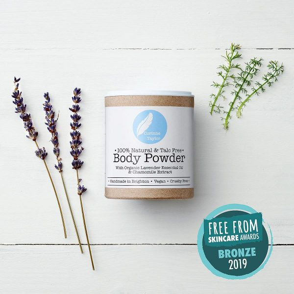 body powder in box with lavender