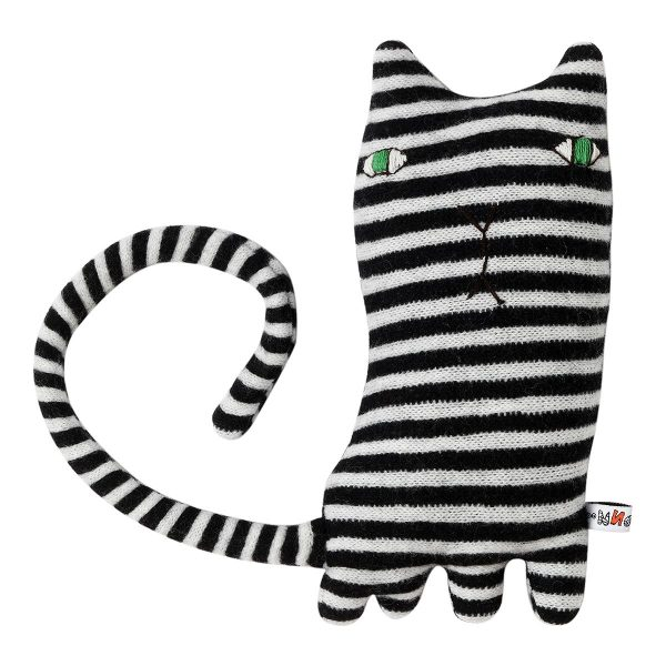 grey and white striped cat toy on white background