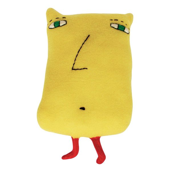 yellow creature with short red legs