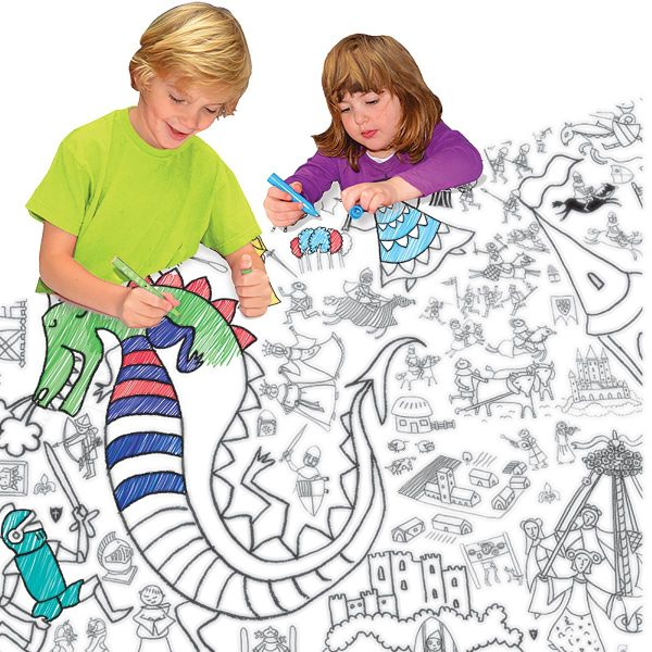 girl and boy colouring together at table