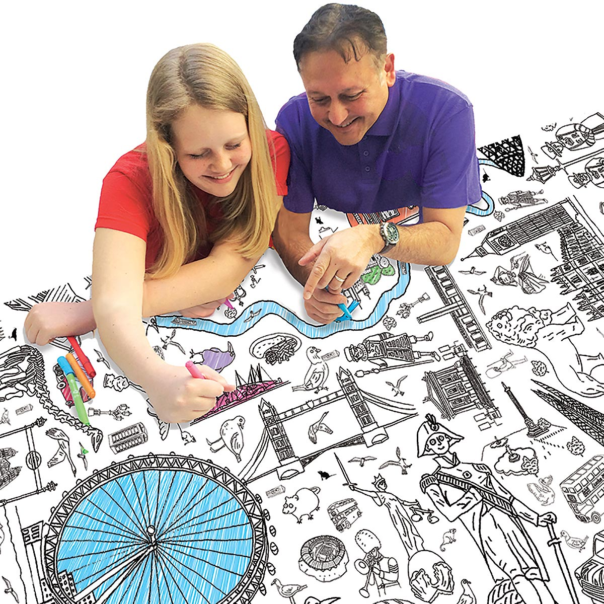 father and daughter colouring tablecloth