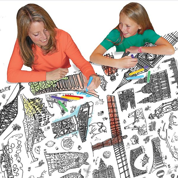 mother and daughter colouring in tablecloth