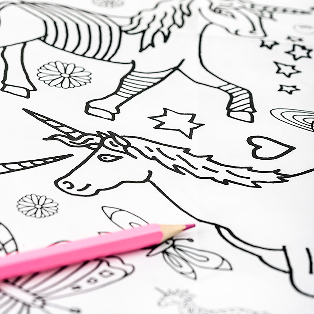 outline of unicorn with pink crayon