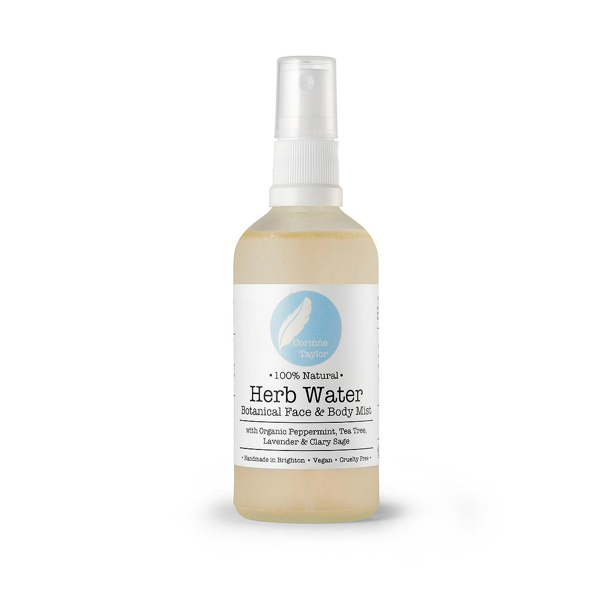 bottle of herb water on white background