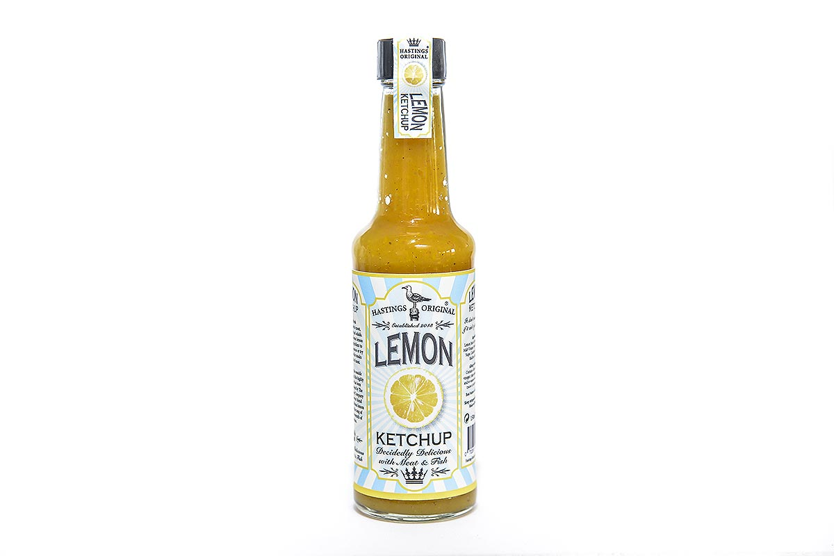 glass bottle full of lemon ketchup