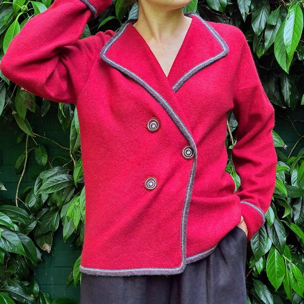 woman wearing jacket in garden