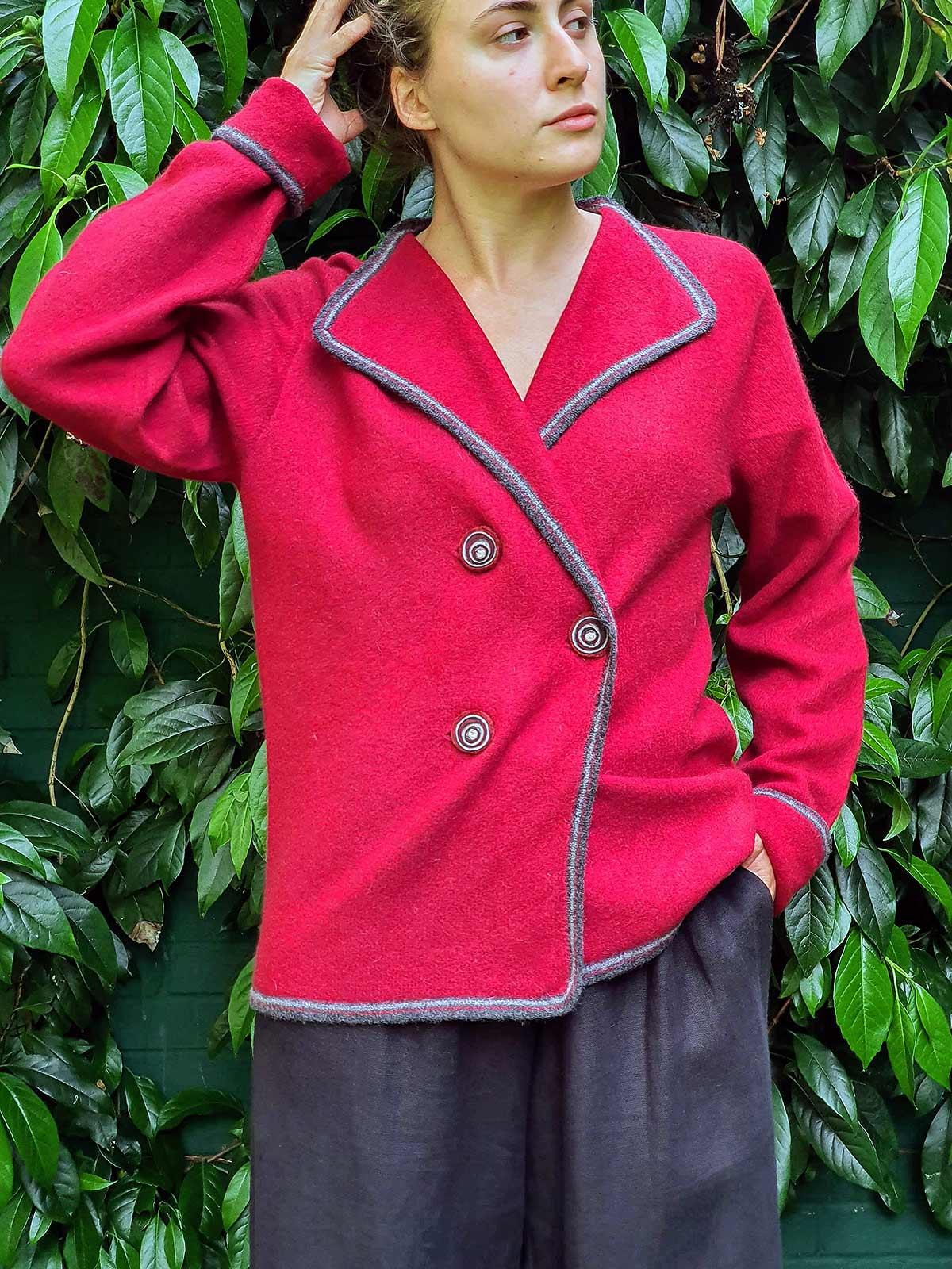woman wearing jacket in garden
