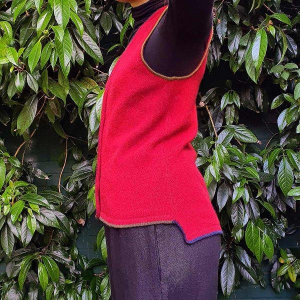side view woman wearing waistcoat