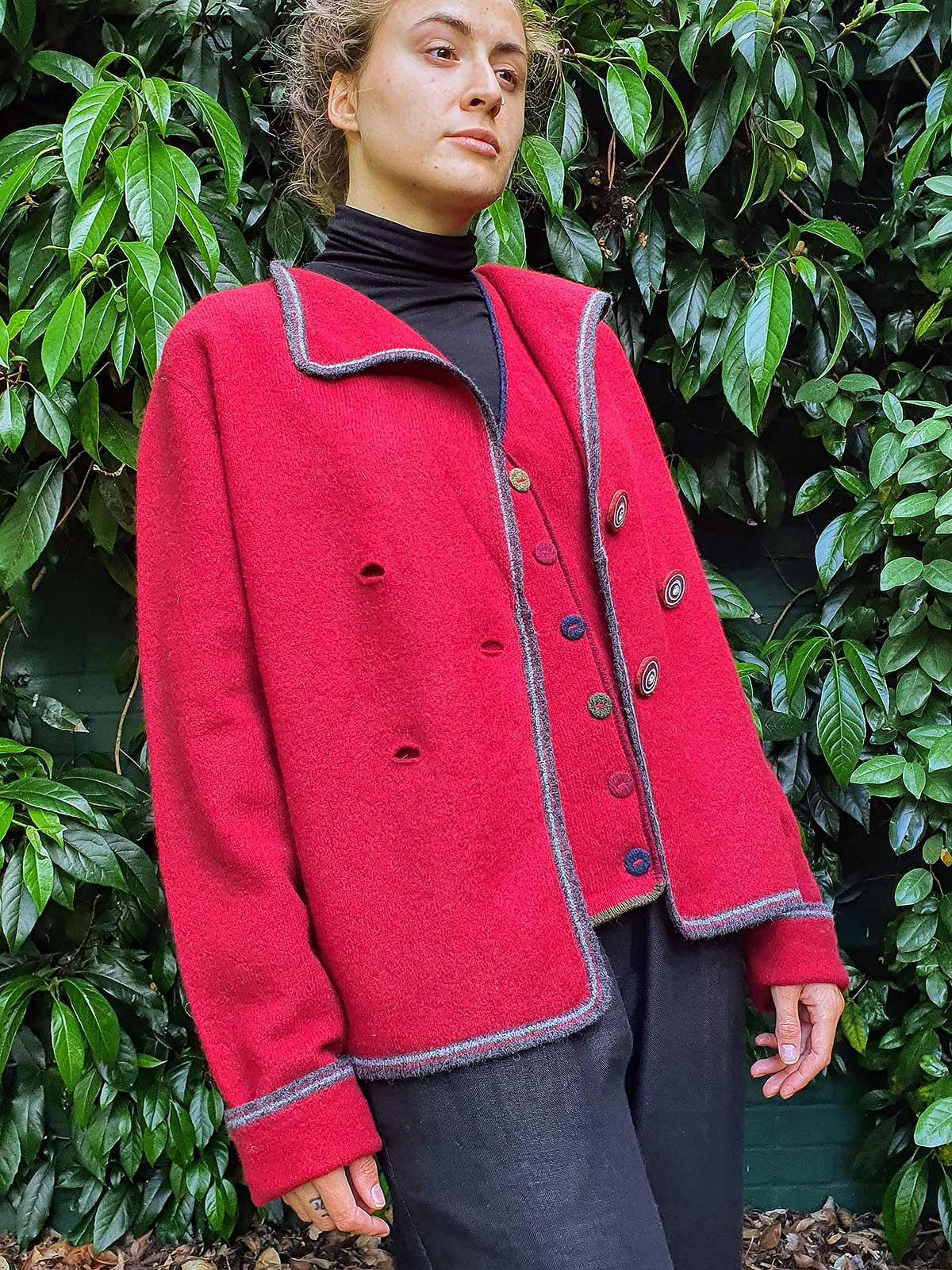 woman wearing jacket and matching waistcoat in garden