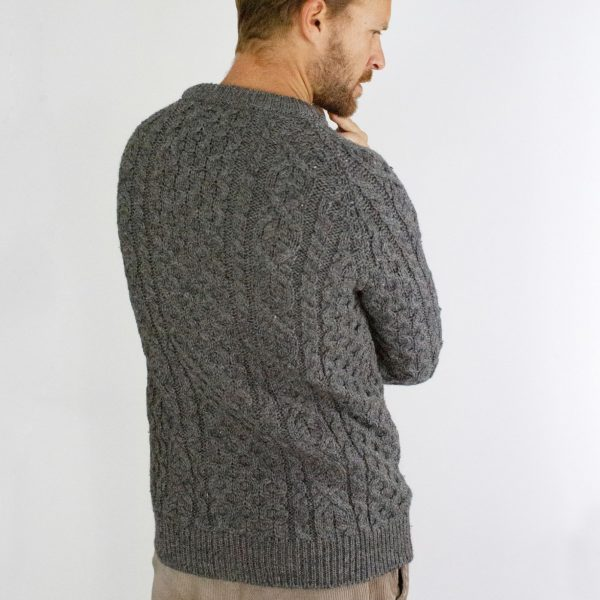 man wearing jumper rear view