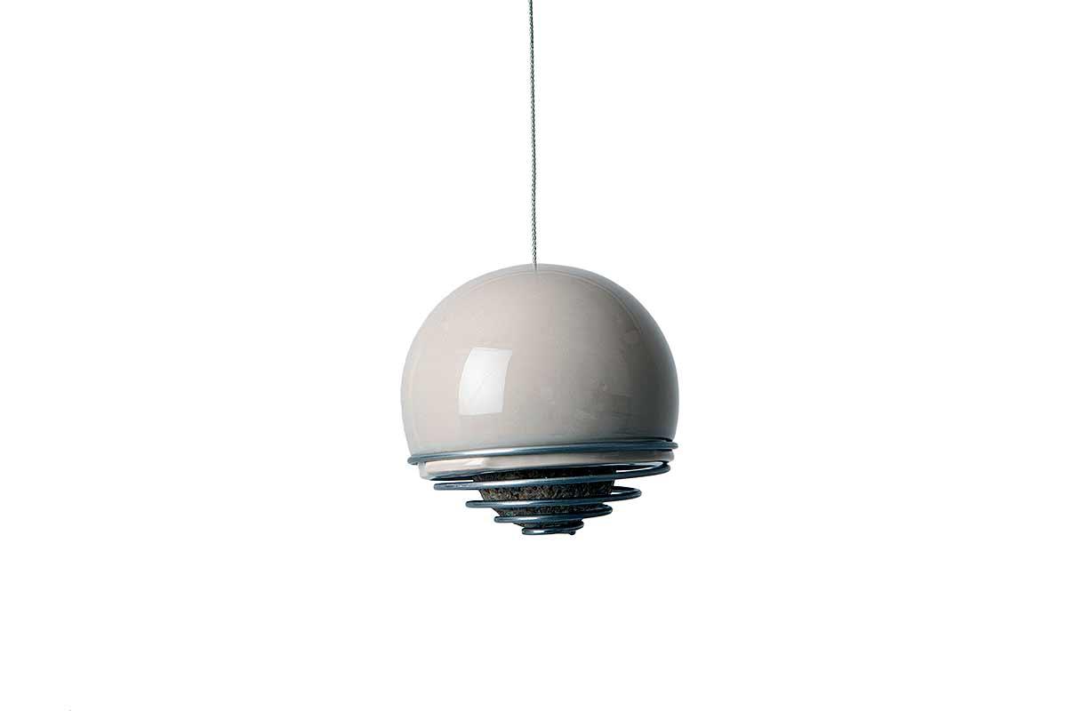 bird ball feeder on white background