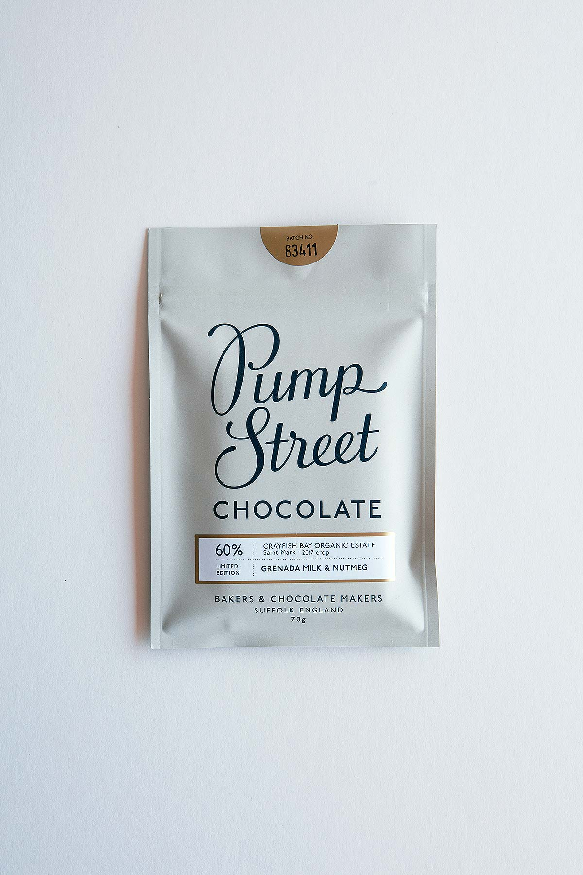 wrapped chocolate bar on white background