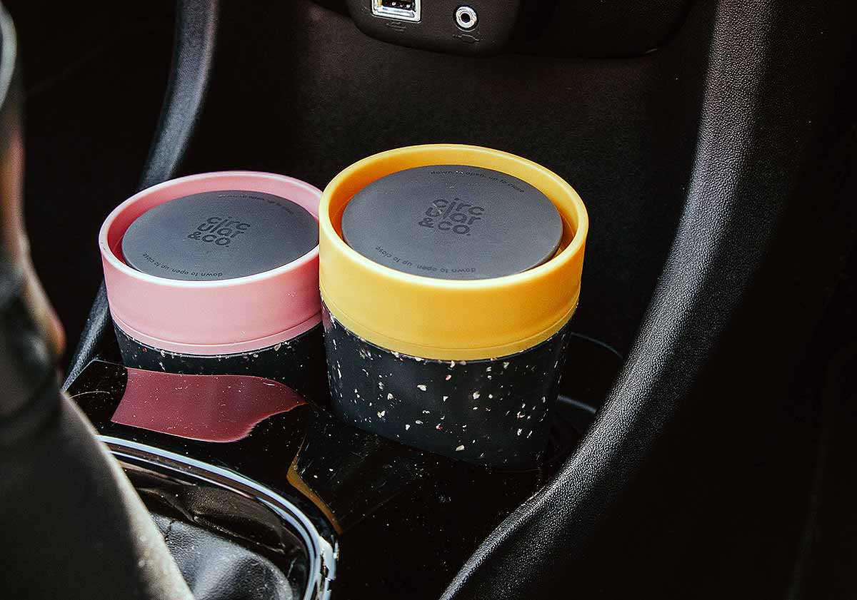 two cups in car