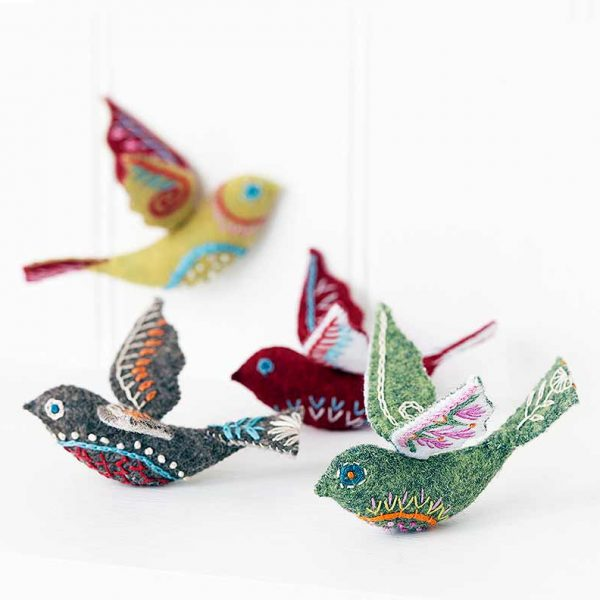 felt birds on white background