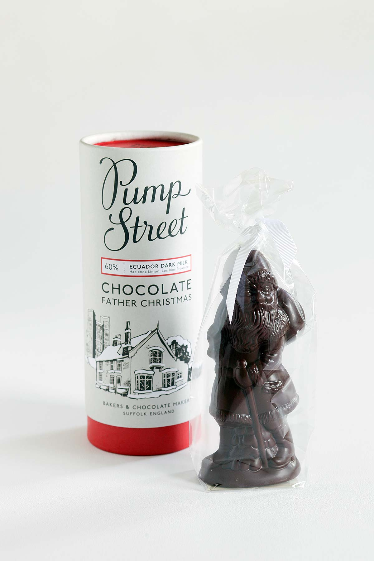 chocolate figure and packaging on white background