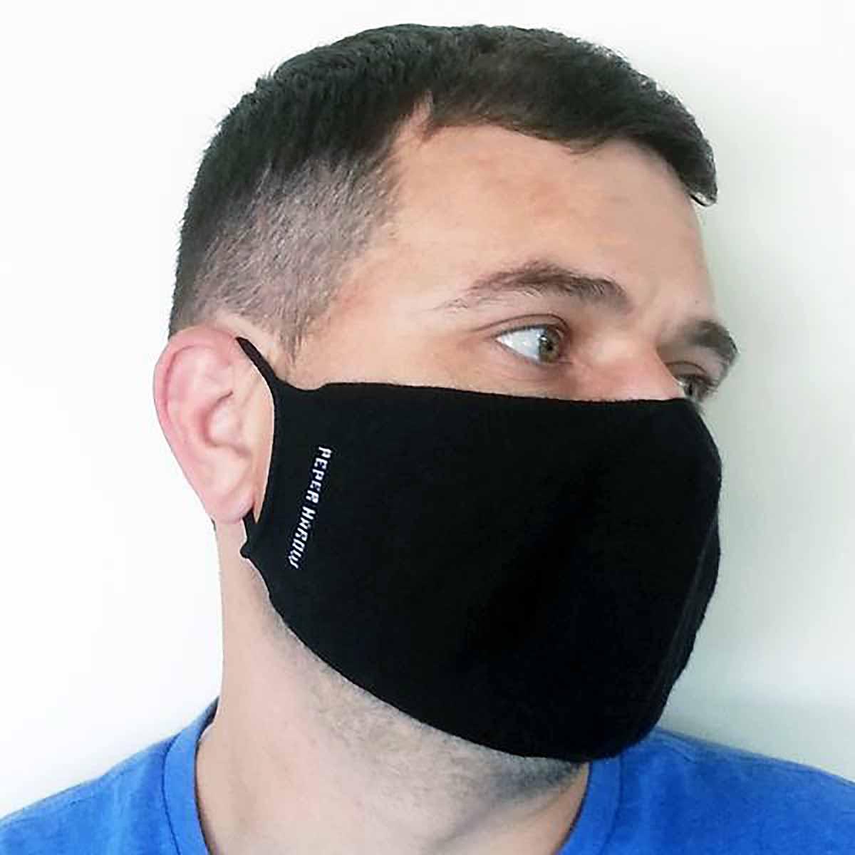 man wearing mask side view
